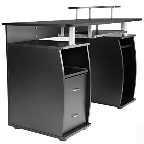 Table de l'ordinateur avec de Nombreux rangements, Bureau Informatique, Noir
