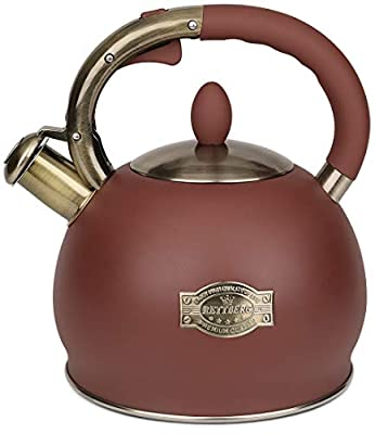 RETTBERG 2.64 Quart Whistling Tea Kettle for Stovetop Food Grade Stainless Steel Teapot,1 Free Heat-Resistant Cotton Glove (Frosted Red)