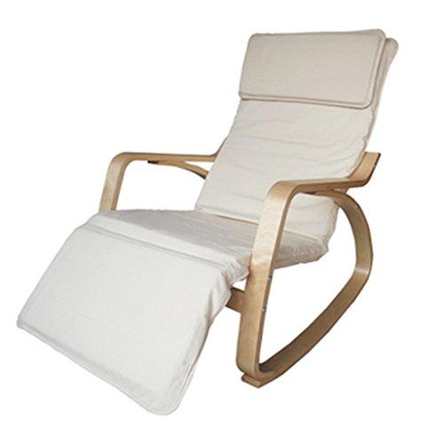 Tabouret en bois Fauteuil à bascule Chaise Longue Nordic Leisure Chair Fauteuil à bascule Balcon Solid Wood Single Tissu Intérieur Chaise/Tissu en coton - blanc (Couleur : Blanc)