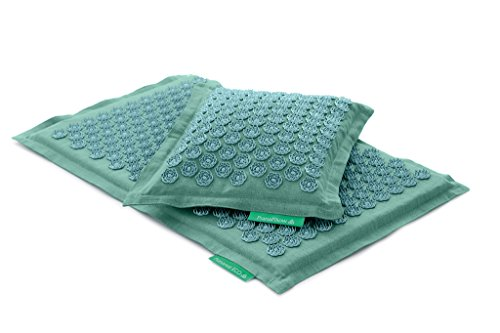 Set - 2 unidades: Pranamat ECO + PranaPillow, La esterilla y la almohada de masaje terapéutico (Turquesa/Turquesa)
