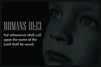 Decals Home Decor & More Christian Poster Bible Verse Romans 10:13 Child Face | 18-Inches By 12-Inches | Motivational Inspirational Educational Religious | Premium 100lb Gloss Poster Paper | JSC743