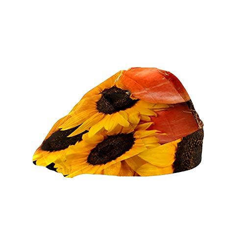 Gorra de trabajo para cabello largo con banda elástica ajustable para el sudor para hombres bufanda de trabajo impresa 3D sombreros girasoles calabazas Haystack