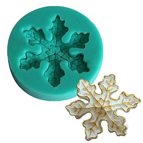 Molde de silicona de copo de nieve de Navidad DIY molde de fundición Fondant Cake Mold para joyería colgante de jabón de chocolate resina Navidad colgante adorno