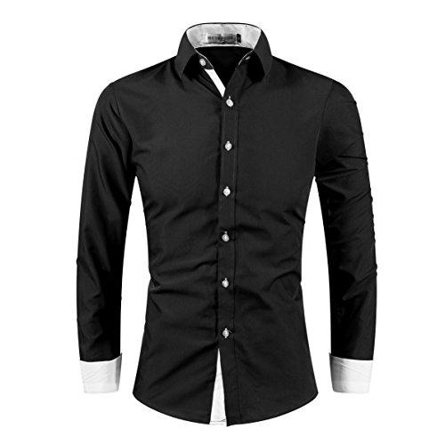 Kuson Homme Chemise Casual Couleur Unie à Manches Longues Col Chemise Cassique - Noir+blanc, XL (Taille fabricant L)