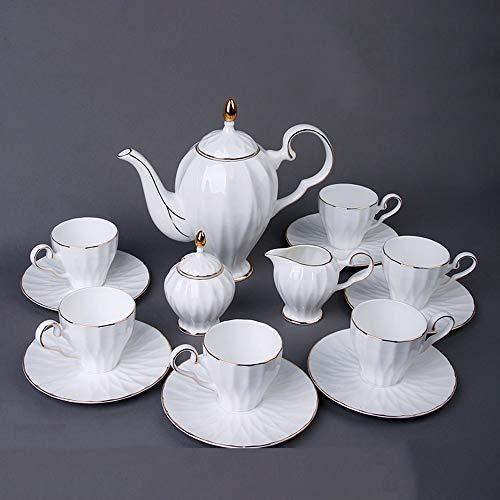 Royal China Tea Set 6 pezzi Tea Cups (5oz), Tea Pot (38 once), Creamer e Sugar Set, con il contenitore di regalo Servizio da tè in porcellana Tea Set (Color : White)