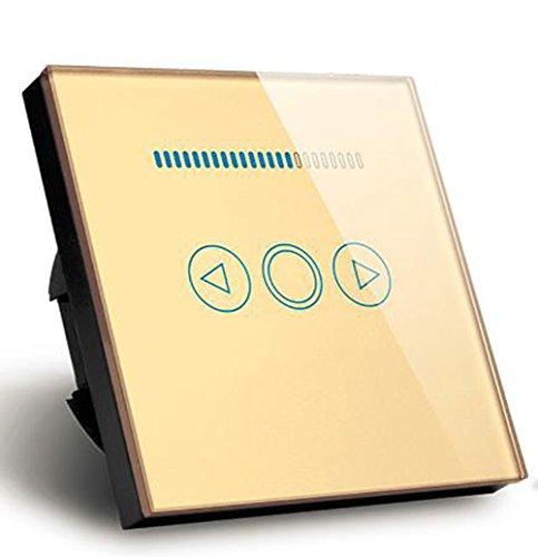 Touch Switch Dimmer 500W Kristallglas Panel LED Dimmer Wand Lichtschalter (Gold)