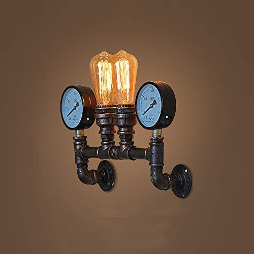 QTRT Viento Industrial Medidor De Agua Lámpara De Pared Brazos Retro Metal Lámpara De Pared Nordic Iron Art E27 Apliques Lámpara De Iluminación Para Sala De Estar Dormitorio Restaurante Estudio Bar Ca