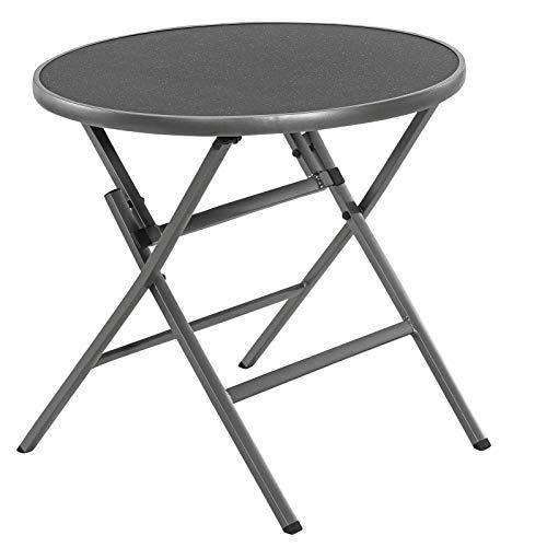 Dehner Klapptisch Chigaco rund,Ø 80 cm, Höhe 74 cm, Aluminium/Glas, grau