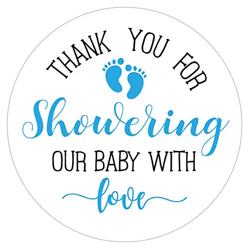 Blue Little Feet Baby Shower Stickers, Thank You for Showering Our Baby with Love Stickers, Baby Shower Favors for Boys, Baby Shower Favor Labels, 2 Inch, Pack of 50.