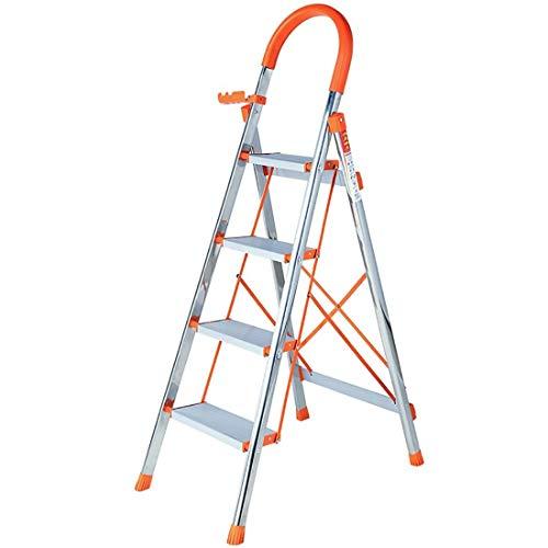 LRZLZY 4-Stufen-Edelstahl-Leiter, Folding Küche Hocker, Verlängerung Trittleiter, Teleskopleiter, Mehrzweck Home Office Garden Loft Stufenleiter