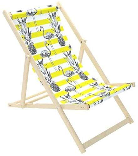 Novamat Gartenliege aus Holz Klappbar Liegestuhl Relaxliege Strandstuhl Klappliegestuhl, Motiv:Gelbe Flamingos