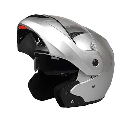 YXDDG Deluxe · Le Casque de Moto Front Flip Rue m,avec Doubles visières pour Casque Adulte Dual Sport-De l'argent M