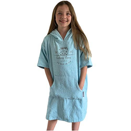 HOMELEVEL Kinder Frottee Surfponcho mit Kapuze und Stickerei 100% Baumwolle Strandponcho Poncho Badeponcho Hellblau 6-9 Jahre