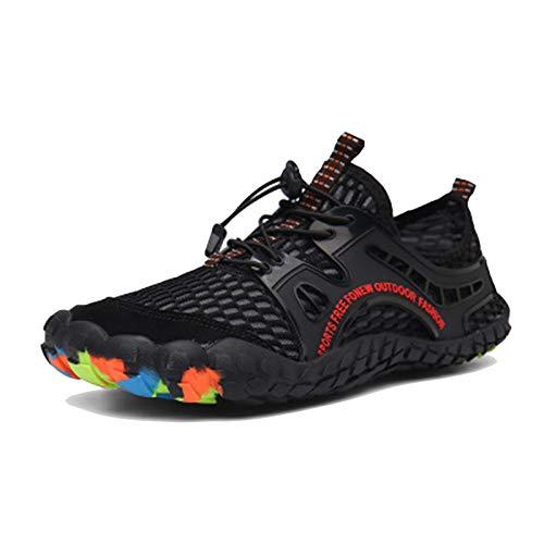 snfgoij Calzado Descalzo Calzado de Agua para Correr Zapatillas de Deporte Calzado Ligero Calzado de baño de Playa Aqua Low Rise Lace Up Deportes al Aire Libre Calzado,Black-43(UK8.5)