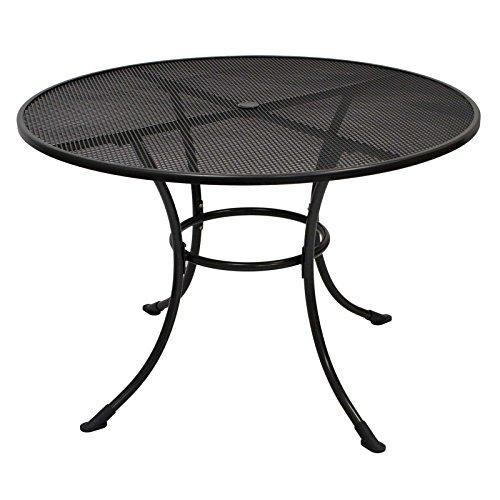Streckmetalltisch RIVO 110cm rund, eisengrau MIT Schirmloch in der Mitte der Tischplatte Tisch Gartenmöbel