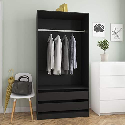 Festnight Armario Ropero 2 cajones y 1 Gran Compartimento, Armario Habitación, Color Blanco, Medidas: 100x50x200 cm