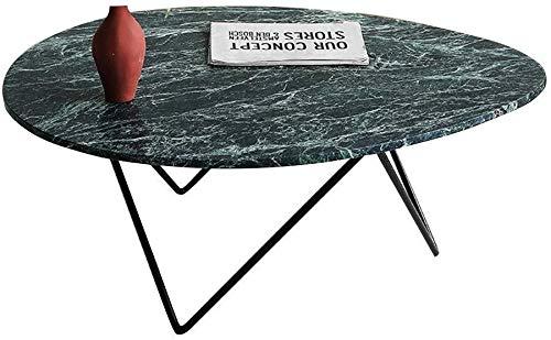 Zijtafel Eivormige groene marmer bijzettafel, smeedijzeren onregelmatige driehoek lade, geschikt voor kleine woonkamer, 80×45×45cm