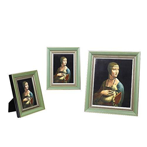 Fotolijst Wood Photo Frame, staan en Wall Mounted Handmade Solid Houten fotolijsten met glazen afdekplaat Homedecoratie (Color : Green, Size : 25.5x31x2.7cm)