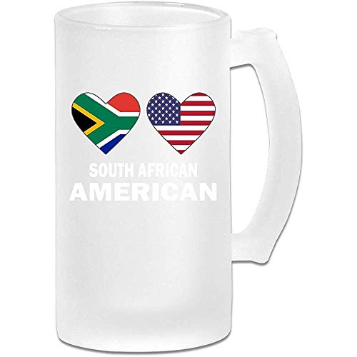 NHJYU Boccale di Birra South African American Hearts Frosted Glass Stein Beer Mug - Personalized Custom Pub Mug- Gift for Your Favorite Beer Drinker