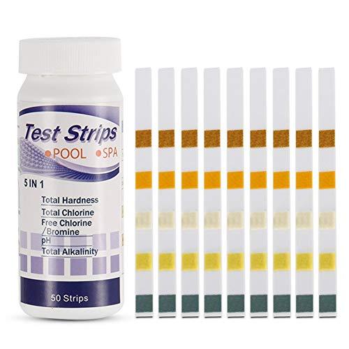 Liamostee - Tiras de prueba de agua para piscina, spa, medición de cloro, bromo, pH, alcalinidad y dureza (50 unidades)