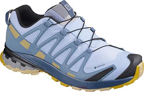 Salomon Damen XA PRO 3D V8 GTX, Leichte Schuhe für Trail Running und Wandern, Wasserdicht,Blau (Kentucky Blue/Dark Denim/Pale Khaki),39 1/3 EU