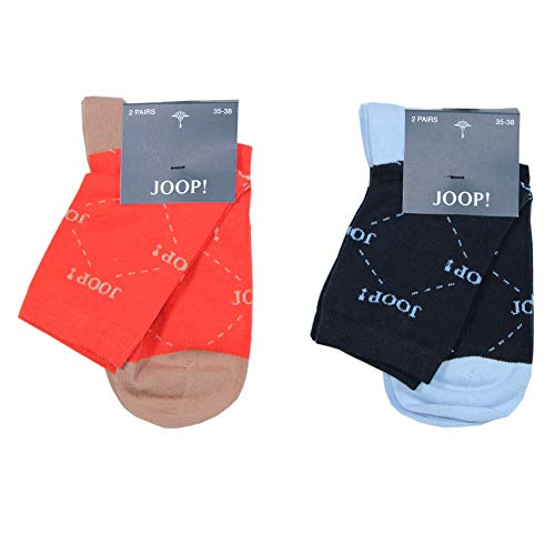 Joop! Damessokken, logo en ruit, pak van 4, Finest Combed Cotton, Strawberry, Navy, 35-38