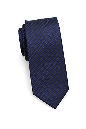 PUCCINI schmale Krawatte│6cm skinny slim Tie, Binder, Schlips│einfarbiges modernes, trendiges Muster in Blau (Dunkelblau)