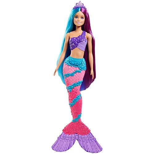 Barbie Dreamtopia poupée Sirène Cheveux Longs Fantastiques bicolores avec brosse, diadèmes et accessoires, jouet pour enfant, GTF39