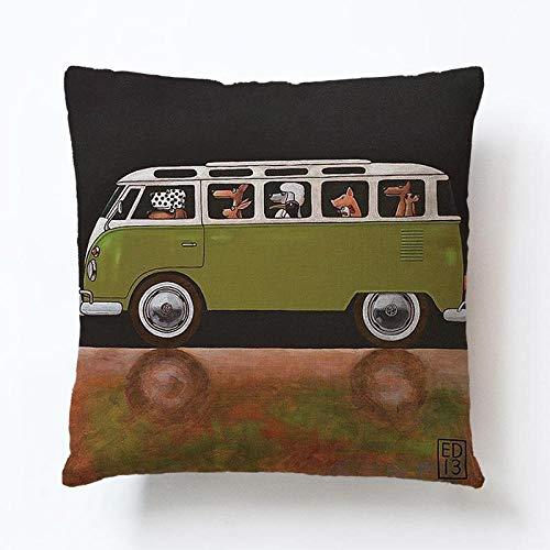 ouyalis Cushion Covers Pillow Case Lovely Cartoon Dog Driving Car Vintage Almofadas 45X45CM Linen Pillow Decorative Linen Cushion Cover-450mm*450mm_A6