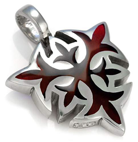 Bico Escudo Solar Medieval Pendiente (BT44 Rojo) - inspiración para iluminar el Alma - Resina y Metal Pulido Tribal Urbano Joyeria