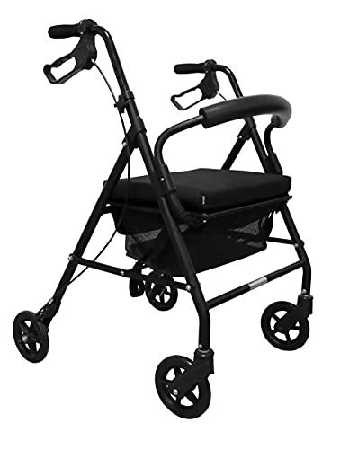 KMINA - Andador para ancianos, Andador plegable, Andadores para ancianos 4 ruedas, Andadores adultos, Andador para ancianos con asiento, COMFORT Negro Freno Maneta
