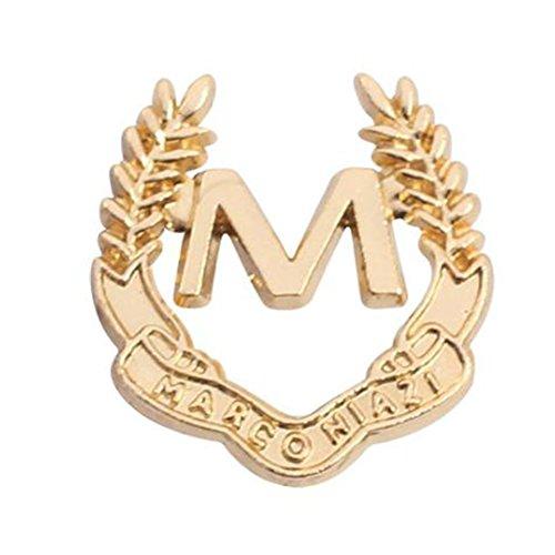 iTemer Pin para Solapa Broches de bisuteria para Ropa y Zapatos Un Hermoso Recuerdo Broche Masculino Metal Golden Letra afortunada M 1.8 * 2 cm 1 artículo