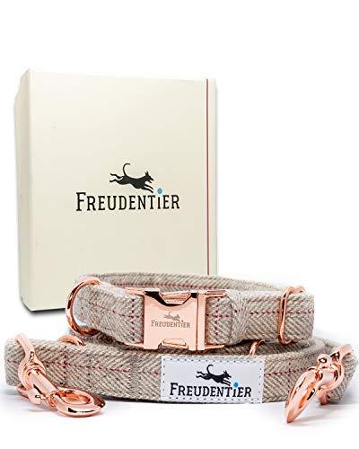 Freudentier® Hundeleine (2m) + Hundehalsband im Set | Inkl. Geschenkbox | Außergewöhnlich Elegant & Verstellbar