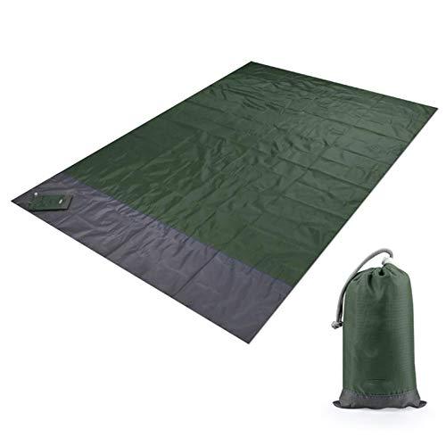 Campingmatta, picknickmatta, 2MX2.1M vattentät strandfilt utomhus bärbar picknickmatta camping golvmatta madrass camping camping säng sovdyna 200 x 210 cm grön