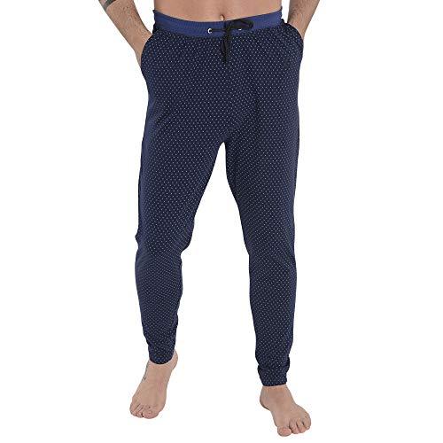 El Búho Nocturno Pantalón de Pijama Suelto de Hombre Pantalón Pijama Caballero de Entretiempo de Estampado Ropa de Dormir para Hombre Punto de algodón Talla XXL Celeste