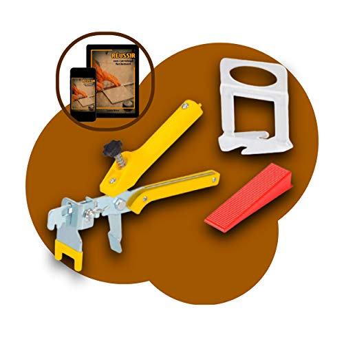 Kit de sistema de nivelación reutilizables de azulejos + guía para colocación de azulejos + 1 pinza y 100 cuñas ajustables para suelos o paredes