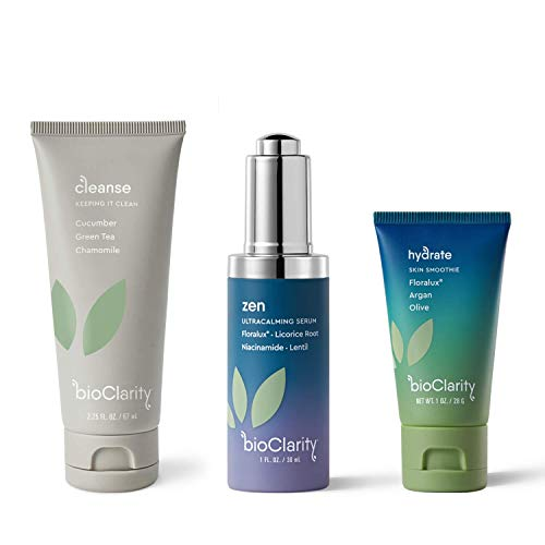 bioClarity 3-Step Ultra Calming Routine for Redness-Prone Skin | 100% Clean, Vegan Ingredients | Contains Chamomile, Floralux, Vitamin B3, Lentil