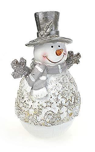 Deko Figur Schneemann mit Stern Dekor 14 cm, Kunststein massiv weiß grau braun, Dekofigur Schneemannfigur Winterdeko Winter Weihnachten