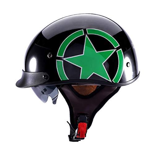Casco De Moto Retro Harley Casco HelicóPtero Piloto Cruiser Chopper Jet Casco MonopatíN Ciclomotor Casco Abierto Certificado Dot/ECE Unisex All Seasons Casco para Exteriores