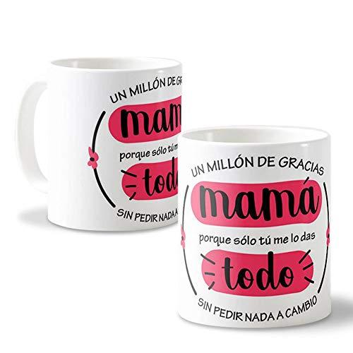 Getsingular Tazas con Fotos para mamá | Una Taza Original para el Día de la Madre o Cualquier Fecha Especial | Tazas de cerámica Blanca Frase Un millón de Gracias mamá.