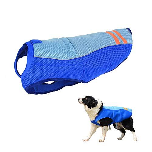Chaleco de refrigeración para Perro, JanTeelGO Chaleco de Refrigeración para Mascotas para Exteriores Arnés de Refrigeración Transpirable para Mascotas a Prueba de Sol (L, Azul)