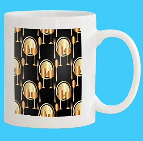 Cup Customized-Add Photo Gifts Custom Coffee Mug 11OZ Restaurant Royal Gold Plates Spoon Fork Wine Glasses Glass Black Background Can Be Repeated Whit