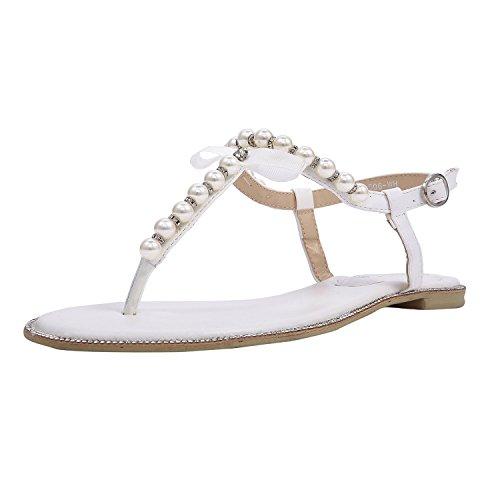 SheSole Damen Sandaletten – Flache Damen-Sandalen mit Perlen & Strasssteinen, modische Riemchensandalen, Farbe weiß