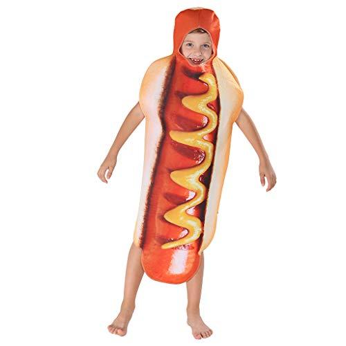 EraSpooky Unisex Essen Lebensmittel Hotdog Kostüm Faschingskostüme Einteiler Halloween Party Karneval Fastnacht Kleid