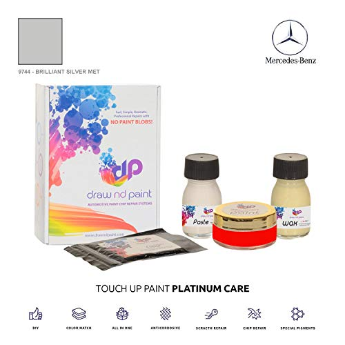 DrawndPaint for/Mercedes C-Class/Brilliant Silver Met - 9744 / Touch-UP Sistema DE Pintura Coincidencia EXACTA/Platinum Care
