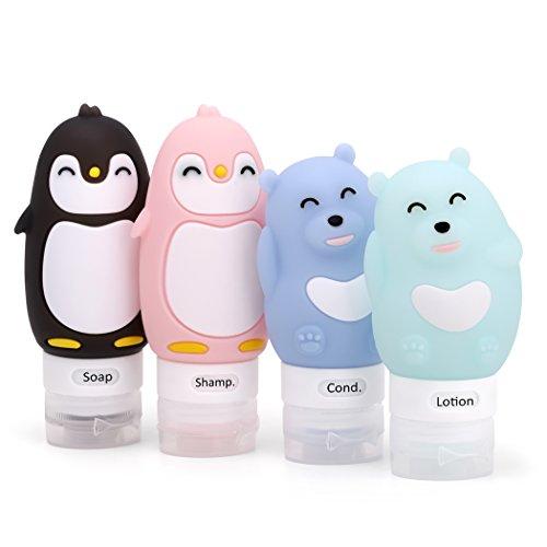 ValourGo Auslaufsicheres Cartoon Reiseflaschen Set - Nachfüllbare, BPA-Freie, TSA zugelassene Silikon-Reisebehälter für Shampoo, Conditioner, Lotion, Hygieneartikel
