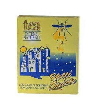 TEA NATURA - Noches tranquilas - Conos de incienso de mosquito con aceites esenciales - 100% natural y vegano - Repelente pero no letal para insectos - 10 conos