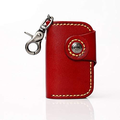 YXSMQC Lederen multifunctionele sleuteltas heren en dames handgemaakte autosleutel tas clip portemonnee effen kleur