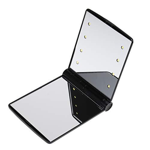 Frcolor Espejo de Maquillaje de Aumento con 8 LED con Doble Cara Plegable Para Maquillaje de Viaje (Negro)