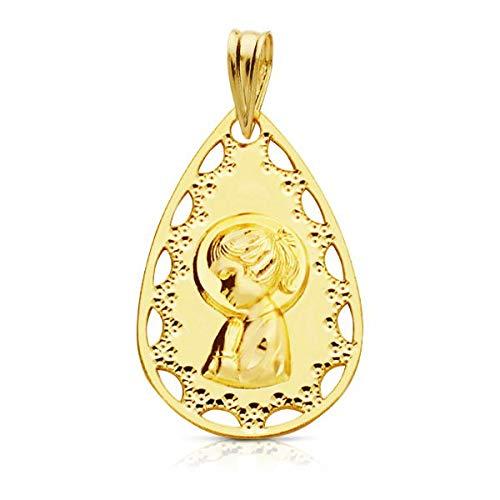 OROCORDOBA Medalla Bebé/Niña Oro 18ktes Virgen Niña Ovalada Tamaño 14 x 22 mm.